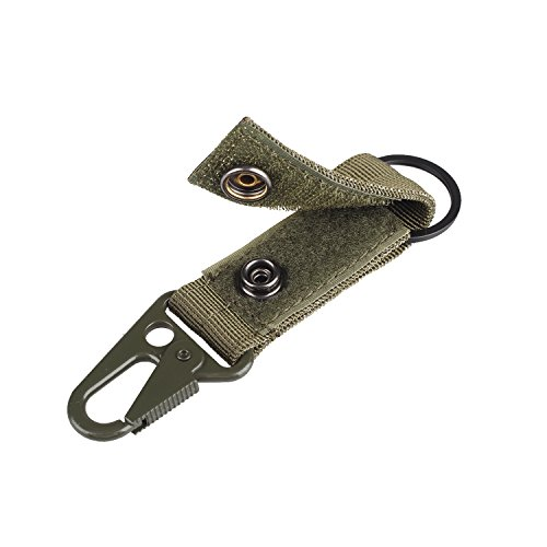 XTACER Tactical Molle Key Ring Gear Keeper Keychain Snap Secure Belt Webbing Keychain (Green)