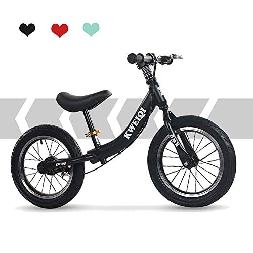 Bueuwe Bicicleta Sin Pedales Ultraligera,14 Pulgadas Bici para Aprender A Mantener El Equilibrio,Manillar Y SillíN Ajustables39-50 Cm,Juguetes para NiñOs De 2 A 6 AñOs,hasta 45 Kg, Negro