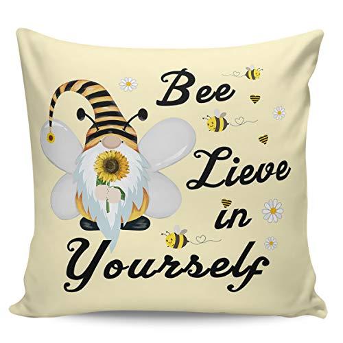 Scrummy Fundas de almohada de 40,64 x 40,64 cm, diseño de abeja lieve in Yourself granja, gnomo, girasol, margarita, color amarillo
