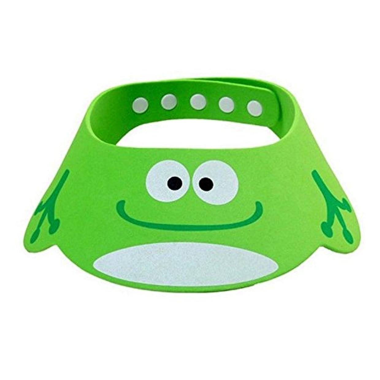 ブラウス圧力シート調整可能なベビーハット入浴子供用シャンプーキャップ動物ベビーシャワーキャップ入浴バイザーベビーケアソフトハット green