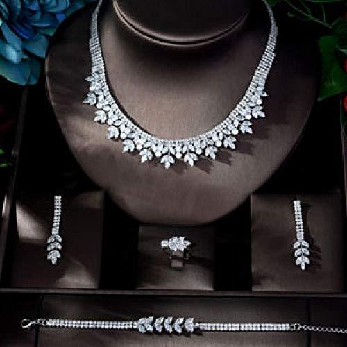Jskdzfy Exclusivejewelery Cubic Zirconia Set New Cobre Collar Pendiente Pulsera Pulsera Juego De Fiestas para Mujeres (Color : White Gold Plated)