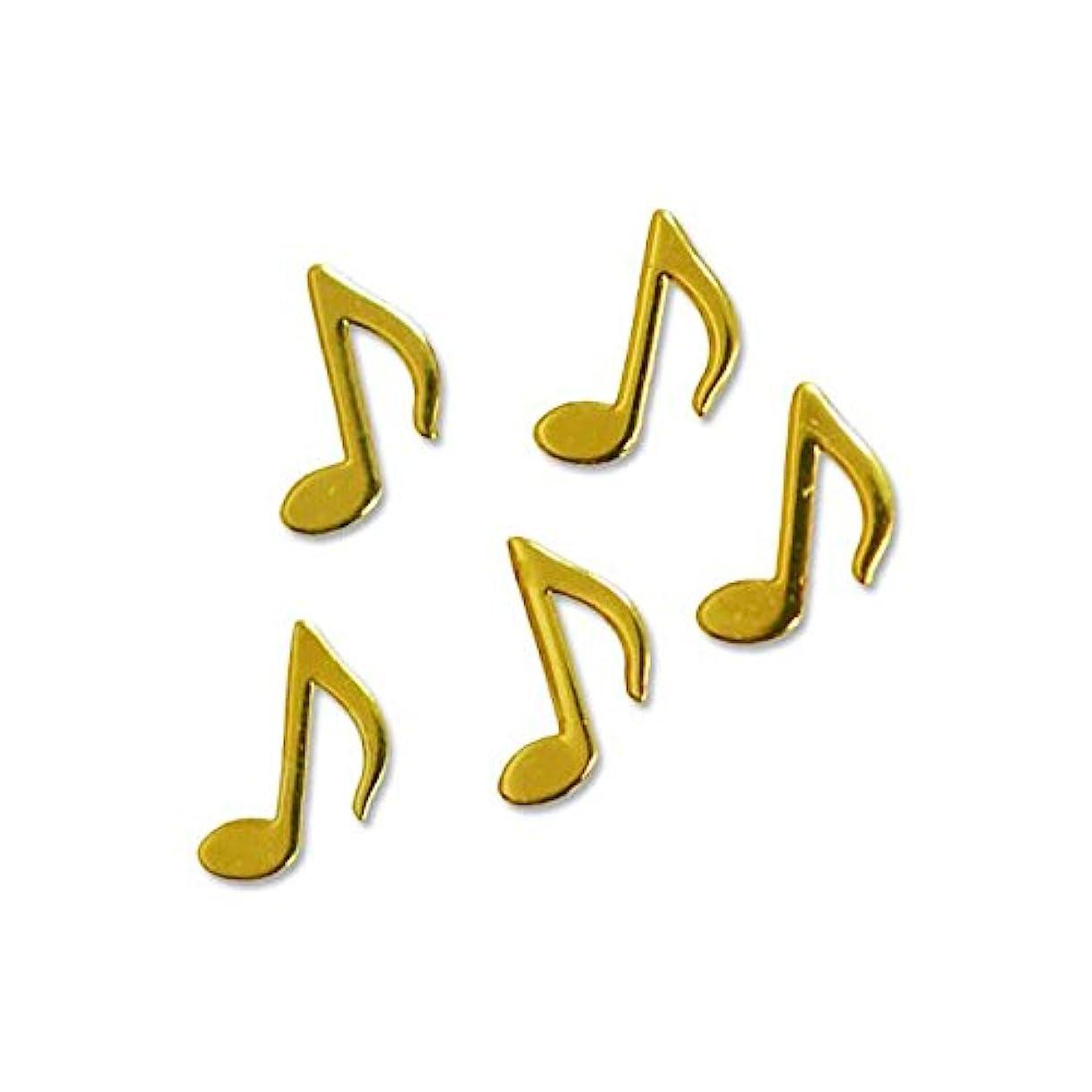 薄型メタルパーツ10025ミュージック 音符 おたまじゃくし4mm×5mm(ゴールド)/20p入り