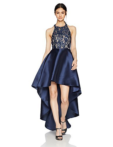 Speechless Junior's High-Low Mikado 2-Piece Formal Dance and Prom Dress, Navy Lace,...