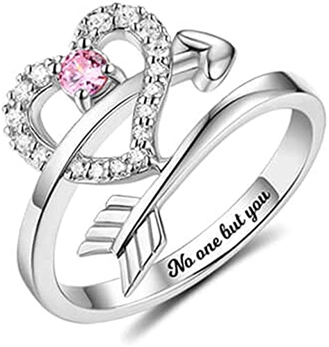 925 plata esterlina upwmm collar amor corazón anillo flecha de Cupido anillo en forma de corazón anillo de bodas personalizado anillo de mujer amante madre 6.5 Plata