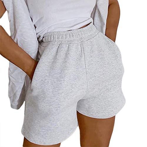 L&ieserram Sommer Kurze Hose Damen High Waist Shorts Locker Sport Freizeithosen Athletic Sweatshorts Mädchen Y2K Shorts mit Taschen Gummibund (Grau, M)