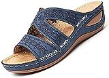 QAZW Sandalias de Plataforma para Mujer,Sandalias de Cuero para Mujer Sandalias de Cuña Medianas de Verano Plataforma Casual Antideslizante Plataforma de Punta Abierta Zapatillas de Mujer,Blue-42