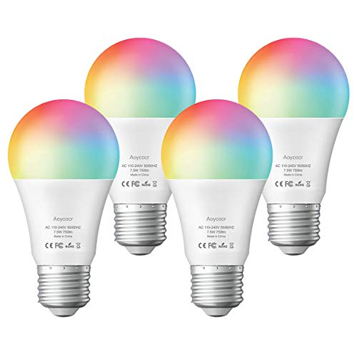Smart Light Bulb, Daylight Multicolor Led Bulbs A19 E26 750 lm Work with Alexa, Echo, Google Home and IFTTT(No Hub Required) RGB Color Changing Dimmable, UL Listed, 4 Pack