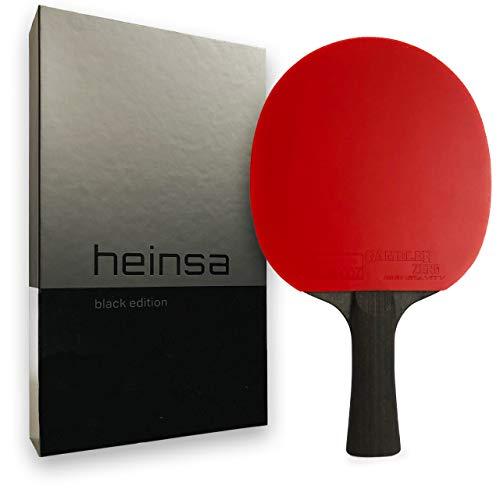 heinsa Carbon Profi Tischtennisschläger ITTF Wettkampf zugelassen Black Edition aus Lichtnussbaum mit Premium Verpackung und Bällen