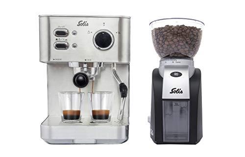 Solis zeefdrager-espressomachine voor gemalen koffie of softpads, hete stoommondstuk, 15 bar, 1,5 l watertank, roestvrij staal, Primaroma Primaroma + koffiemolen. RVS