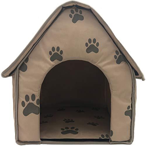 Teeyyui Casa cálida para mascotas, cueva portátil plegable para mascotas, cama gruesa de invierno con almohadilla lavable de doble cara, fácil de transportar para interiores y exteriores.