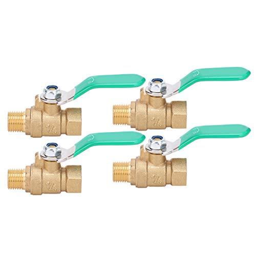 4Pcs Brass Ball Valve, Water Pipe Valve G1/4in Female Male Thread Drain Shut Off Switch Plumbing Fitting
