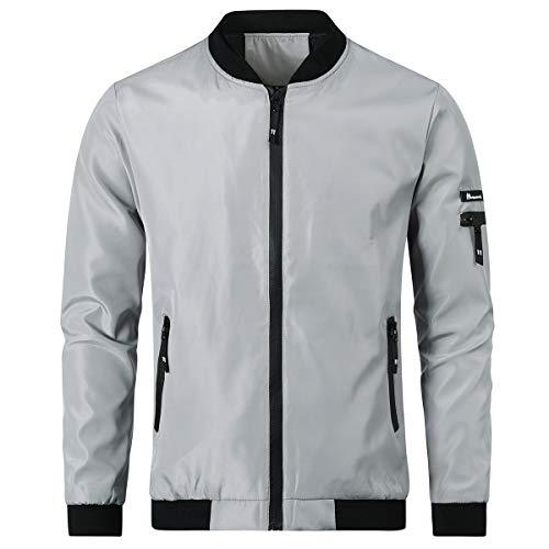 YOUTHUP hombres ligero bomber chaqueta Harrington luz béisbol chaquetas softshell cortavientos verano ropa deportiva Gris Gris-1801 XL