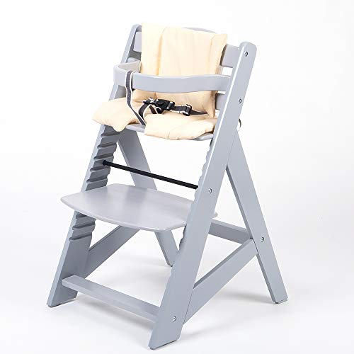 TIGGO Treppenhochstuhl mitwachsend -Kinderhochstuhl - Buchenholz - Babyhochstuhl - Hochstuhl ab 6 Monaten bis 10 Jahre 32114-04 grau/creme