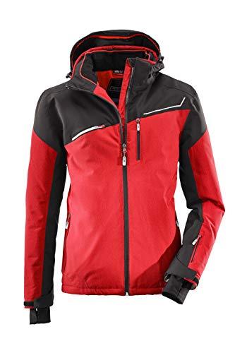 killtec Skijacke Herren Den - Snowboardjacke Herren mit Schneefang - wasserdichte Jacke mit Skipasstasche - atmungsaktiv, rot, XL
