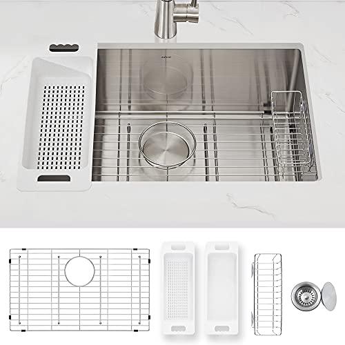 ZUHNE Modena Undermount Kitchen Sink, 16-Gauge Stainless Steel (28-Inch Single Bowl)