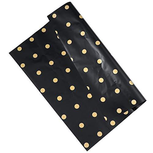 MILISTEN 20 Piezas Hoja de Papel para Envolver Regalos Plástico Punto Redondo Papel Artesanal Envoltorio de Ramo de Flores para Cumpleaños Boda Baby Shower (Negro)