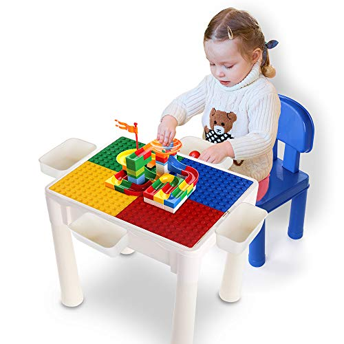 TEMI 6-in-1 Multi-Purpose Activity Table Build & Play with 80PCS Marble Run Deluxe Sets, Kids Play, Sand, water, Dining and Learn Desk w/ 1 Chair and 4 Storage Boxes