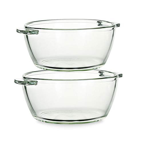 HAOXIANG 2 Piece Glass Bowls Set, Heat Resistant Clear Glass Mixing Bowl Binaural Salad and Snack Tableware – Microwave and Dishwasher Safe,1+1L