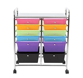 Finnhomy 12 Drawer Organizer Cart Utility Cart Rolling Storage Cart Smoke Drawer Studio Trolley Office Suppliers for Home School Beauty Salon Storage