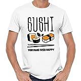 Sushi You Maki Miso Happy Japan Maguro Food Foodie Nigiri Asia Quote Fun T-Shirt,White,S