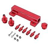 Kit de colector de admisión de bloque de vacío de 6 puertos para coche universal, válvula de descarga de gas combustible Turbo Boost(rojo)