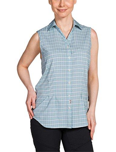 Jack Wolfskin Damen Bluse Tongari Shirt, Aquatic Blue Checks, XS