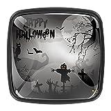 Perillas negras para Halloween con diseño de fantasma de gato espantapájaros para armarios de cocina y armarios de cocina (4 piezas)