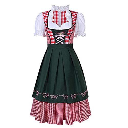 Women Oktoberfest Dirndl Costume Plaid German Beer Festival Cosplay Bavarian Dress Halloween Fancy Dress (M, Dark Green)