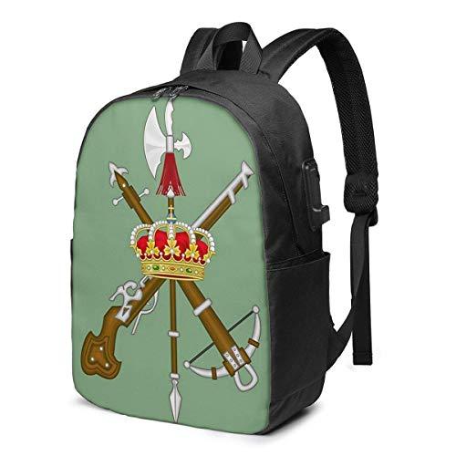 Hdadwy Spanish Legion USB School Backpack Large Capacity Canvas Satchel Casual Travel Daypack for Adult Teen Women Men 17in