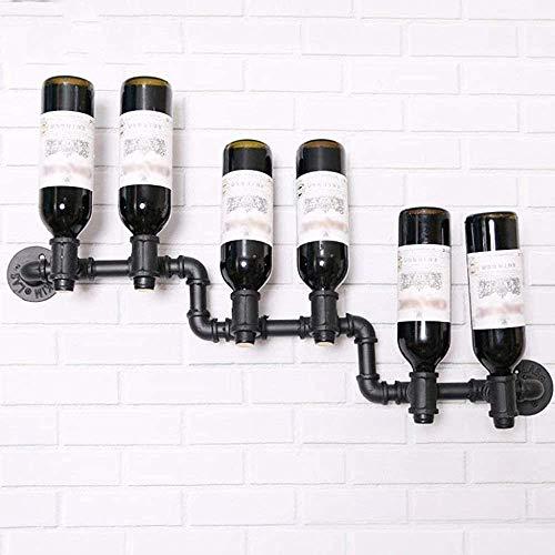 Montado en la pared de botellero de hierro de la pared estante de la pared decorativa de vidrio restaurante portavasos botellero,Black