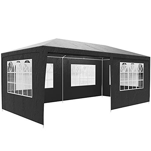 Casaria Pavillon 3x6m UV-Schutz 18m² Wasserabweisend 6 Seitenteile Festzelt Partyzelt Fenster Gartenzelt Fest Anthrazit