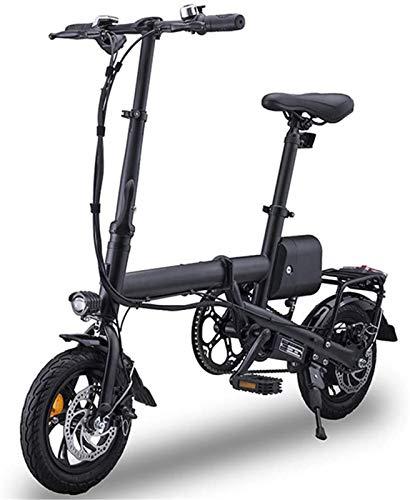Bicicleta eléctrica plegable de alta velocidad, ligera, plegable, compacta, para desplazamientos y ocio, 350 W, 12 pulgadas, 36 V, ligera con faros LED, carga máxima de 100 kg