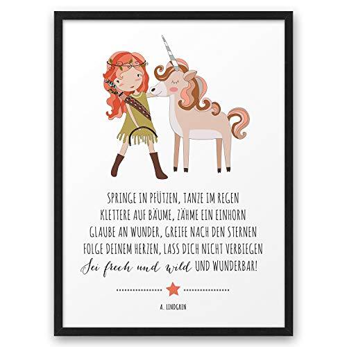 Mädchen EINHORN Frech Wild Wunderbar ABOUKI Kunstdruck Poster Bild Geschenk-Idee für Kinder Taufe Geburt Geburtstag Einschulung Kindergarten - ungerahmt DIN A4