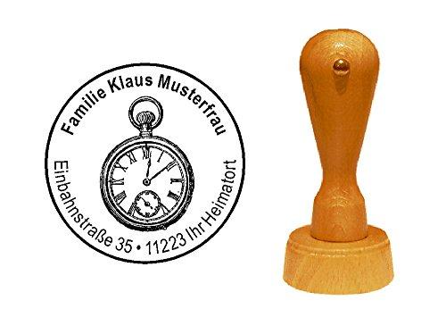 Stempel Holzstempel Motivstempel « TASCHENUHR » mit persönlicher Adresse - Uhrzeit Uhrmacher Uhrwerk Zeitmesser Uhr