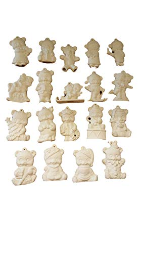Alberta Bears Ceramic Bisque Christmas Tree Ornaments 19 pc Set Ready to Paint
