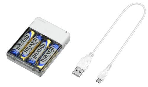 GREEN HOUSE モバイルバッテリー 乾電池式 ホワイト GH-BTB34A-WH