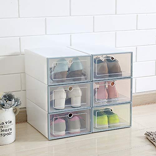 LIANYG 6 unids/Set cajón cajón Caja Transparente Zapato Almacenamiento Organizador Claro plástico Organizador Baloncesto Zapatos de Baloncesto Mostrar Pared Cajas Zapatos 75 (Color : Blue)