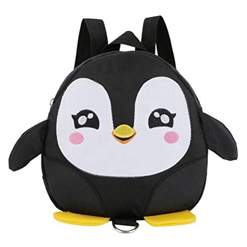 Longra Kinderrucksack Babyrucksack Kindergartenrucksack Kindergartentasche Backpack Schultasche Kinder Pinguin Mini Backpack für Kindergarten Kleinkind Mädchen Jungen Vorschule (Black)