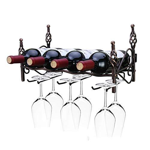 Botellero de Vino Estante de vino, montaje en pared Cuarto de cuatro botellas de seis botellas Estante de almacenamiento de vino Estante colgante Estante para colgar Suministros de barra de barras Dec