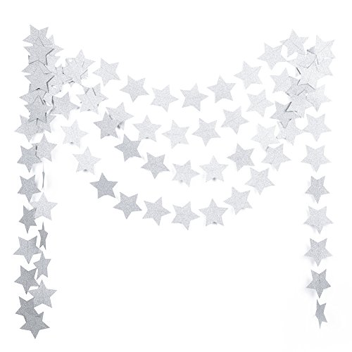 MOWO Paper Garland Twinkle Star Silver Glitter 3'' Circle Decoration 2pc 20 feet in Total