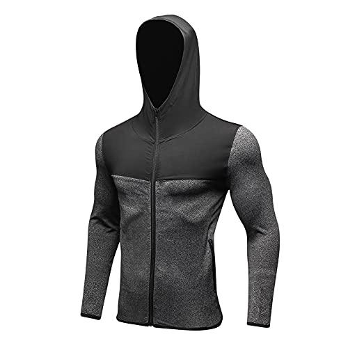 Camiseta de compresin para hombre, camiseta funcional de manga larga para fitness, transpirable, para correr, hacer deporte, gris, XL
