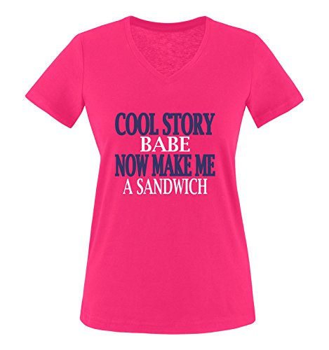 Comedy Shirts - Cool Story Babe. Now Make me a Sandwich - Damen V-Neck T-Shirt - Pink/Weiss-Lila Gr. XXL