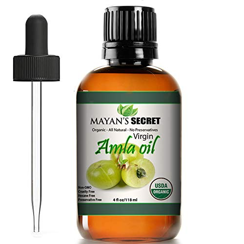 Amla oil for hair growth Virgin Organic USDA Certified Large 4oz Glass bottle and glass Dropper