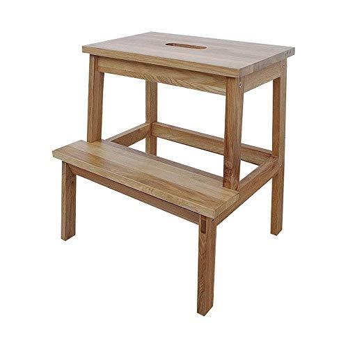 DYFYF Utilidad de dos etapas de heces de madera de roble, cama for niños Escaleras adultos Abuelos Animales Escalera antideslizante Reposapiés de construcción Escaleras de cama for la seguridad del ar