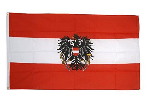 Flaggenfritze® Flagge Österreich Adler, österreichische Flagge hissfertig mit Ösen 150 x 250 cm