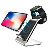 Metal Wireless Fast Charger,DETUOSI Qi Wireless Charger Stand for Apple Watch Series 4/3/2/1 Charging Station for iPhone 8/8+/X/XR/XS/XS Max,Samsung S10+/S10/S9+/S9/S8/S7,Moto,LG,HTC (Silvery)