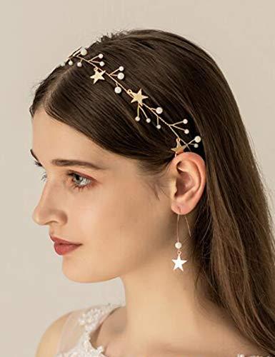 BERYUAN Sequins Pearl Star Headband Earrings Set Gold Wedding Hair Accessories Tassel Star Pendant Jewelry for Her Gift for Women Girls (Gold)