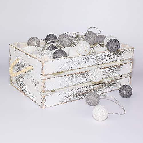 Lichterkette Cotton Balls LED | 335 cm | 20 Kugeln Ø 3,5 cm | inkl. 2 x AA Batterien | inkl. 6h Timer | LED Dekorationskugel | Deko für Mädchen Teenager Baby Zimmer Deko Terrasse (Grau - Klein)