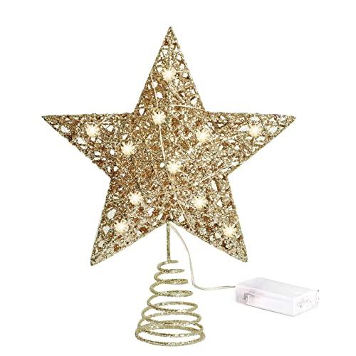 JINGLING Puntale per albero di Natale, stella con luce LED, oro e argento, decorazione per albero di Natale