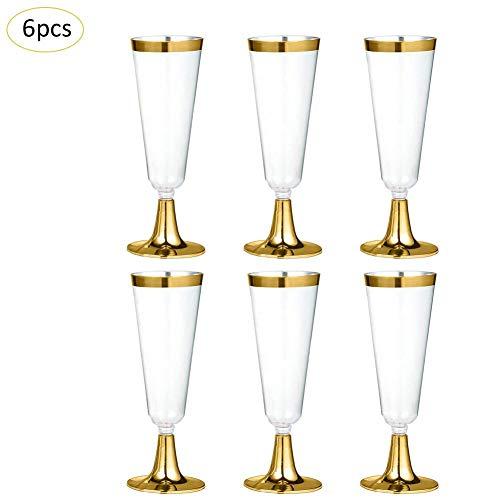 lā vestmon Desechables Copas de champán Copas de Vino, Transparente Desechables Vasos de Copas de champán Copas...